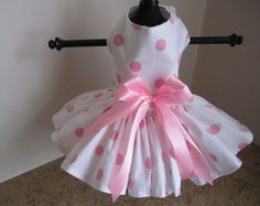 Dog Dress XS White with Pink large polkadots  By Nina's Couture Closet