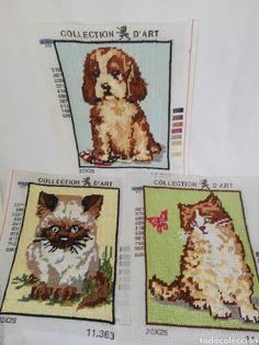 tres bordados con gatos , perro bordado a mano - Comprar en todocoleccion - 99594494 Teddy Bear, Handmade, Animals, Collection, Art, Hand Embroidery, Dogs, Gatos, Art Background