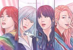 Female version of Hyung line; Jin, Yoongi, Namjoon and Hoseok Wallpaper Fofos, Bts Wallpaper, Fan Art, Namjoon, Hoseok, Min Yoonji, Bts Girl, Bts Drawings, Bts Chibi