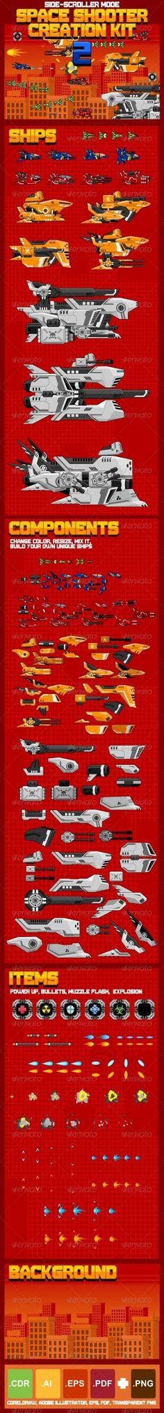 Space Shooter Creation Kit 2 by Zuhria Alfitra, via Behance