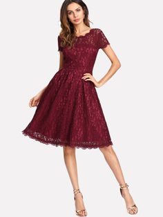 Shop Hollow Out Lace Skater Dress online. SheIn offers Hollow Out Lace Skater Dress & more to fit your fashionable needs. Fit And Flare, Fit N Flare Dress, The Dress, Dress P, Skater Dress, Pink Dress, New Ladies Dress, Burgundy Bridesmaid Dresses, Short Sleeve Dresses