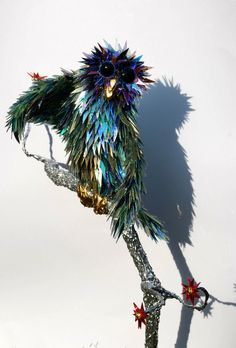 Animal Sculptures Made of Shattered CDs (reminds me of Kaija Kjome)