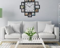 This square wall clock with 12 photo frames offers unlimited design ideas and is a great addition to any room. Fill the frame with pictures from vacations. Wall Clock Photo Frame, Frames On Wall, Wall Clocks, Black Photo Frames, Bed In Living Room, Trendy Home Decor, Clock Decor, Wall Decor, Family Room Design