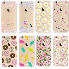 Colorful Phone Cases soft TPU for Apple iPhone 5s 6 6S case 6S Plus case Waterproof Transparent Flower Pattern
