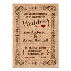 Vintage Border Rustic Text Wedding