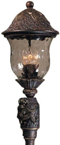 Triarch International 75116-11 Monkey Collection Exterior Post Mount Fixture, English Bronze with Hand Blown Clear Hammered Glass by Triarch. $663.78. From the Manufacturer                Triarch International Monkey Collection 75116-11 Exterior Post Mount Fixture features an English Bronze finish with Hand Painted Gold Highlights on Premium Hand-Crafted Solid Cast Aluminum material with Hand Blown Clear Hammered glass. The 75116-11 would bring a touch of the wi... Home Lighting, Outdoor Lighting, Gold Highlights, Outdoor Ceiling Fans, Torches, Bronze Finish, Monkey, It Cast, Exterior