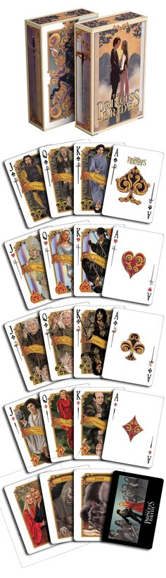 """The Princess Bride - As You Wish playing cards. This deck is wonderful. It has your favorite quotes from the movie on each court card. """"Inconceivable!"""" Now available on www.albinodragon.com"""