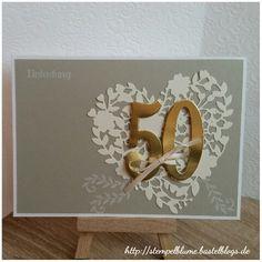 StampinUp!, goldene Hochzeit, Einladung, sehr schlicht gehalten, Thinlits Blühendes Herz und Framelits Große Zahlen...