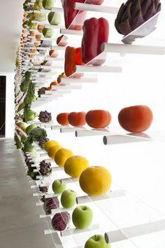 Arclinea Showroom for the Salone del Mobile in Milan. Fruit and vegetables for a originality mix! Display Design, Store Design, Restaurant Design, Restaurant Bar, Food Expo, Boutique Bio, Vegetable Shop, Supermarket Design, Food Retail
