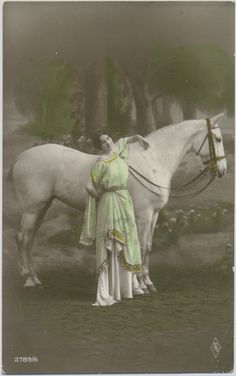 Vintage Hand Tinted Real Photo Postcard - Woman in Costume with Horse 1910s. £3.00, via Etsy.