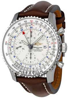 Breitling Navitimer World Steel Brown Strap Watch