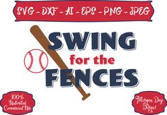 Baseball SVG - Swing for the Fences SVG - Baseball SVG - Sports svg - Sports Ball svg - Files for Silhouette Studio/Cricut Design Space by MorganDayDesigns on Etsy