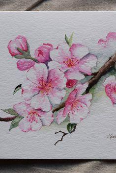 Cerisier fleurs aquarelle carte-original ou impressions