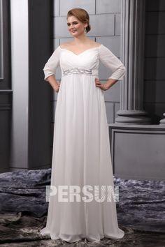 69d5c3a2068 robe de mariée grande taille vintage épaule dégagé manches sous coude à  ligne-A ceinture ornée des strass en mousseline de s