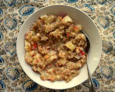 Raw apple porridge bowl (recipe testing for Ricki Heller)