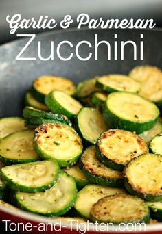 Garlic and Parmesan Zucchini Recipe.. super tasty - we added some onions and some italian spices to the recipe to jazz it up