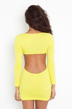 Sexy open back cut out, full front. Summer loving, yellow fun. Would look really cute with rainbow flats or sandals and some candy.