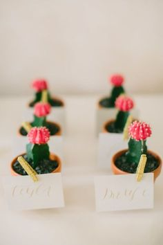 Mini cacti favors: http://www.stylemepretty.com/2015/12/01/blogger-bride-margs-maids-with-dressed-by-jess/ | Photography: Love & Light Photographs - http://www.loveandlightphotographs.com/
