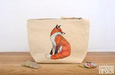 Fox Canvas Zip Purse, Makeup Bag, Coin Purse, Small Accessory Pouch