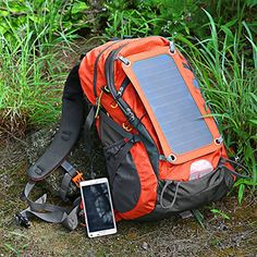 ECEEN® Solar Powered Backpack External Frame Hiking Bag Pack with 7 Watts Solar Charger Panel & 10000 mAh Power Bank for Cell Phones, Tablets, Digital Cameras Etc. 5v Device Charge