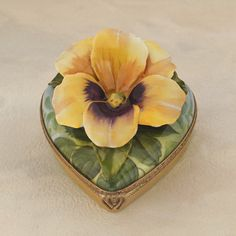 Limoges Yellow Pansy on Heart Box