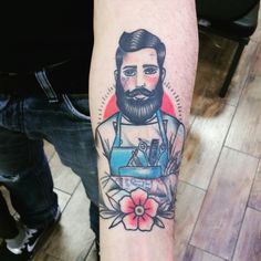 Barber shop traditional old school color tattoo