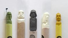 Star Wars characters carved into crayons
