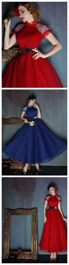 High Neck Tea-length Ball dress, gorgeous for your 2015 #Christmas party outfits ideas.