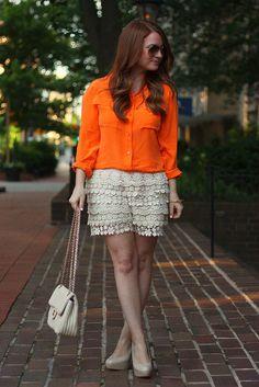 Bright top + crochet lace shorts