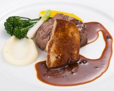 Grilled Beef Fillet with Sauteed Foie Gras, Perigueux Sauce