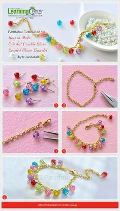 Pandahall Tutorial on How to Make Colorful Crackle Glass Beaded Chain Bracelet from LC.Pandahall.com | Jewelry Making Tutorials & Tips 2 | Pinterest by Jersica