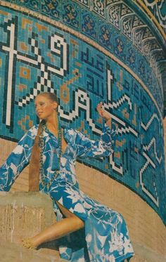 Photographer Henry Clark in Isfahan, Iran for Vogue, December 1969. 60s summer gypset style.