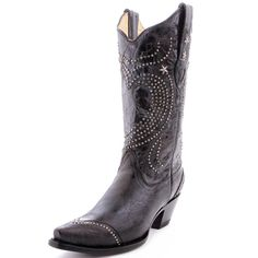 Shiny.  Corral Black Heart with Studs Cowboy Boots R1031 BLK - PFI Western Store