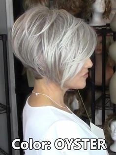 Gray Wigs African Americans Beautiful White And Pink Wig White Hair Tan Skin White Hair Tan Skin Grey Wig, Short Grey Hair, Short Hair Cuts, Short Hair Styles, Gray Hair, Stacked Hair, Pink Wig, Short Bob Hairstyles, Simple Hairstyles
