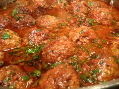 Homemade Italian Meatballs or Meatball sub - but the tastiest are made with equal amounts of ground pork, veal and beef with a bit of egg, Parmesan and a fresh marinara sauce. Meatball Recipes, Pork Recipes, Cooking Recipes, Recipies, I Love Food, Good Food, Yummy Food, Beef Dishes, Pasta Dishes