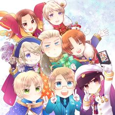 chibi~ hetalia china Russia France Germany Italy England America Japan