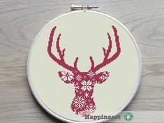 Al modern deer pattern in nordic style. Designed to fit a 8 inch embroidery hoop (stitched on 14 count aida)  The pattern comes as a PDF file that