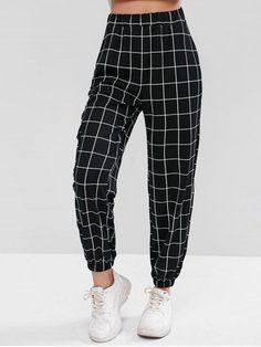 High Waist Plaid Jogger Pants - Black S Mode Outfits, Girl Outfits, Fashion Outfits, Trendy Fashion, Ski Fashion, Fashion Hair, Green Fashion, Curvy Fashion, Fashion Trends