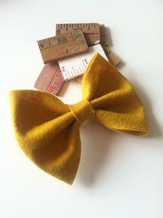 Mustard Yellow Hair Bow. $3.00, via Etsy.