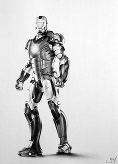 Iron Man Pencil Drawing Fine Art PRINT Hand Signed by IleanaHunter, $14.99