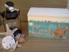 Beach SEASHELLS Wedding Card Money Box Monogram Seashore Sand