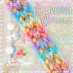 Instagram photo by stearialit_looms - • Travessia Rainbow Loom Bracelet. Design: @lateloomer