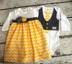 Baby girl boy twin set in yellow and gray , made to match one piece, take home outfit, boy vest, girl sack dress Boy Girl Twin Outfits, Twin Baby Clothes, Twin Baby Girls, Boy Girl Twins, Baby Boy, Baby Girl Names, Twin Babies, Baby Twins, Boy Names