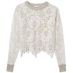 See By Chloe Lace Sweatshirt ($490) ❤ liked on Polyvore featuring tops, hoodies, sweatshirts, boxy top, white crop top, sweatshirt crop top, white sweatshirt and cropped sweatshirt