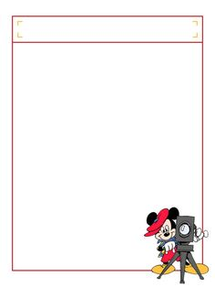 """Mickey with video camera with title box - Project Life Disney Journal Card - Scrapbooking. ~~~~~~~~~ Size: 3x4"""" @ 300 dpi. This card is **Personal use only - NOT for sale/resale** Logos/clipart belong to Disney. ***Click through to photobucket to see this this card with lots of different characters***"""