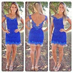 Vestido de Festa- noite - renda cor azul