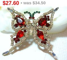 Czech Butterfly Brooch Pin Red Green Clear by BrightgemsTreasures