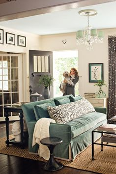 Love this couch for the living room. Create the Illusion of Taller Ceilings - 101 Living Room Decorating Ideas - Southern Living Design Living Room, Home Living Room, Living Room Decor, Living Spaces, Living Room Inspiration, Home Decor Inspiration, Design Inspiration, Design Ideas, Southern Living