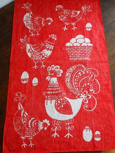 Vintage Red Hen and Rooster Linen KitchenTowel by whatnotsandsuch, $12.00 Love!