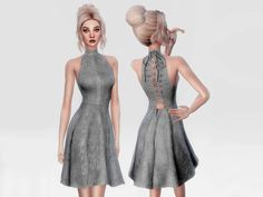 The Sims Resource: Lace Up Suede Dress by itsleeloo • Sims 4 Downloads